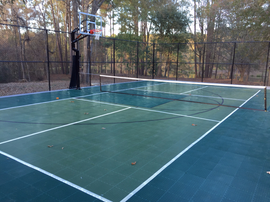 Evergreen green and grey court