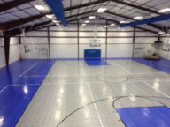 Indoor Revolution in alloy and royal blue, 6 ceiling suspended goals