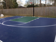 Dark blue and evergreen court